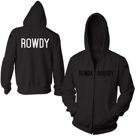 Men's 'Rowdy' Ronda Rousey Black UFC 184 Walkout Full Zip Hoodie