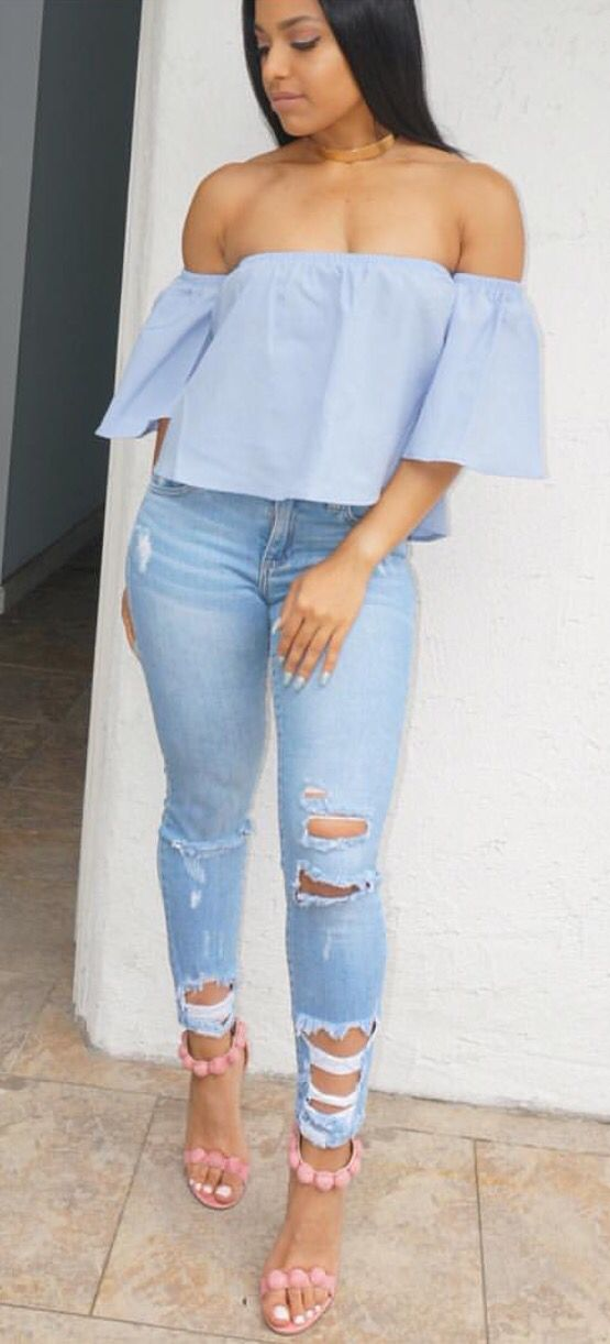 ❁Pinterest: @therealtiaira ☼☾❁..denim shirt denim pants heels w fur