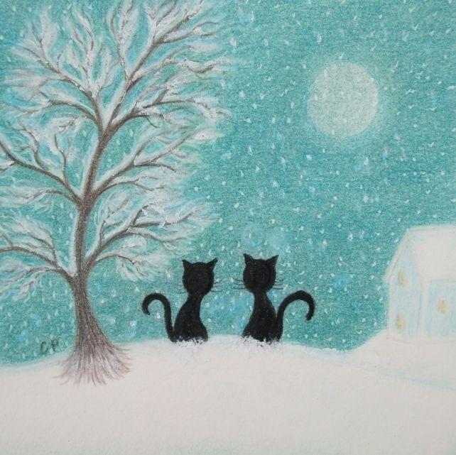 #Cat Christmas Card: #Snow Cats, #Christmas Card, #Black Cat Card, Cat Tree Snow Art £2.00
