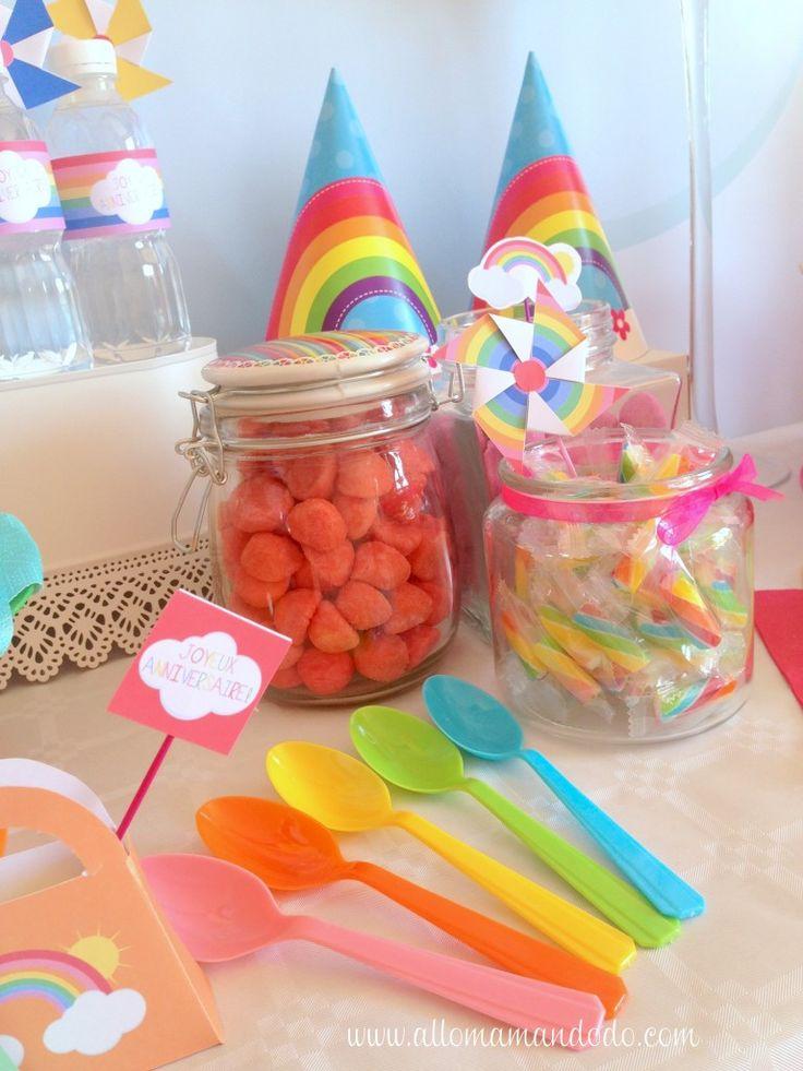 déco arc en ciel table sweet printable rainbow
