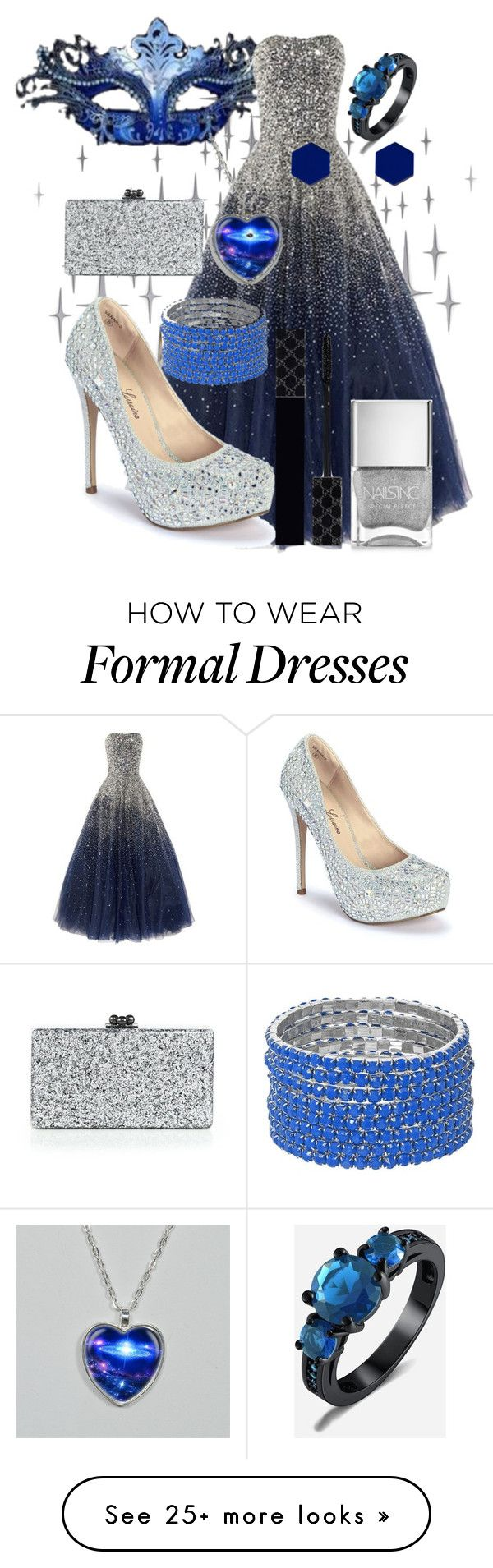 """""""Masquerade Ball"""" by hipstermonkey12 on Polyvore featuring DOMESTIC, Masquerade, Lauren Lorraine, Edie Parker, Nails Inc., Gucci and Wolf & Moon"""