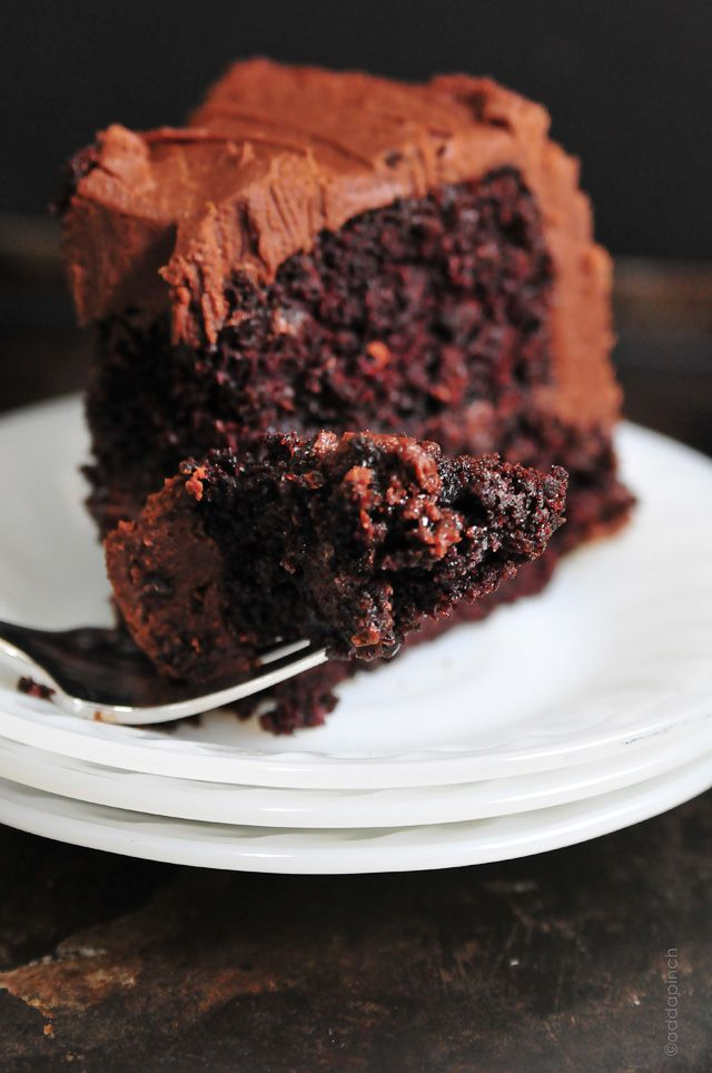 The Best Chocolate Cake Recipe {Ever} from addapinch.com