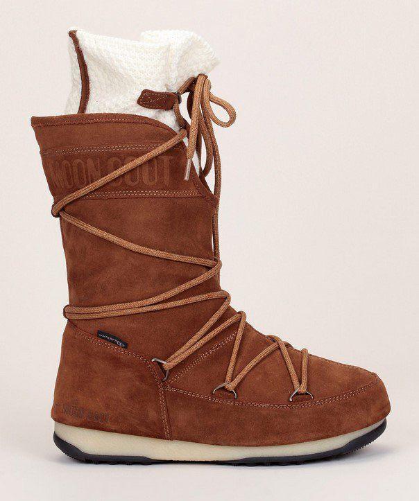 Moon Boot W.E Anversa Woll WP Après-ski à lacets en cuir suede camel à revers tricotés écrus