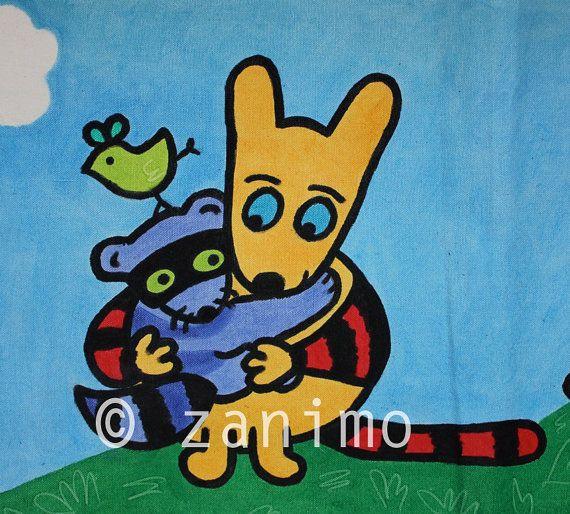 Maki and Kiwi hugging love friendship and happiness  by Zanimo, $15.00