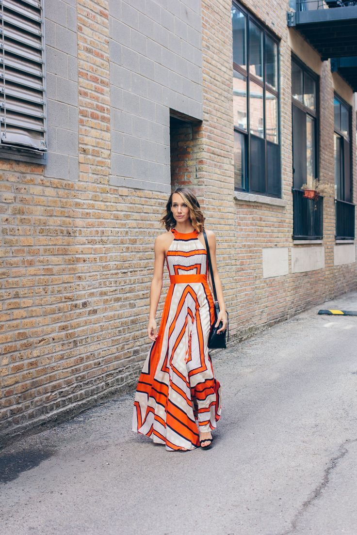 patterned maxi dress, welden bucket bag, summer outfit, eliza j dress, street style — via @TheFoxandShe