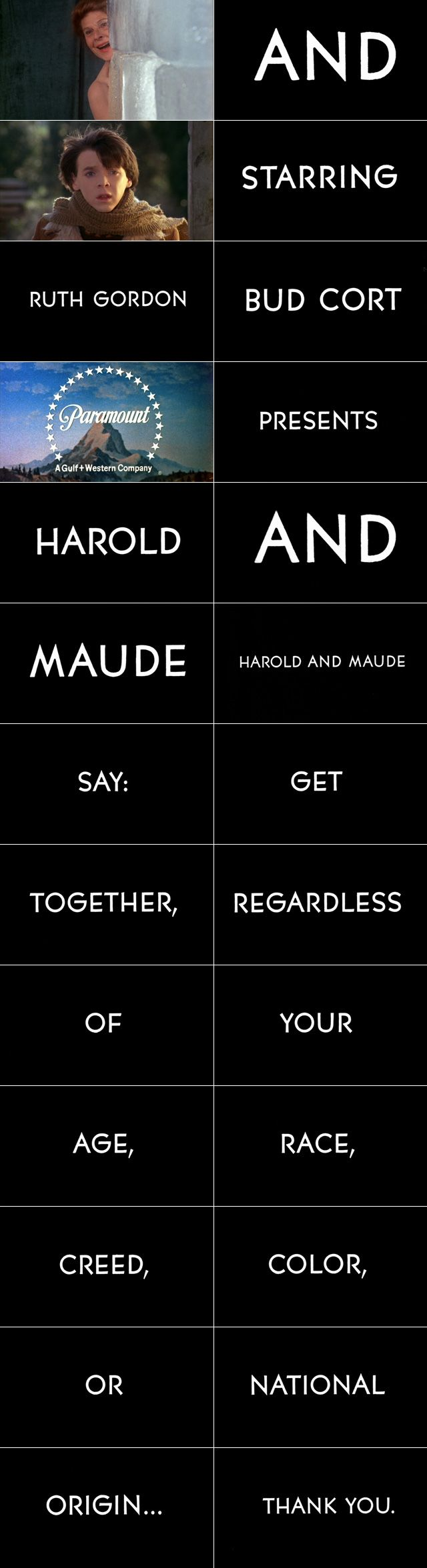 Harold and Maude (1971) trailer typography – the Movie title stills collection ✇ 'HAROLD AND MAUDE' (1971), directed by Hal Ashby, starring Ruth Gordon, Bud Cort, Vivian Pickles, Cyril Cusack