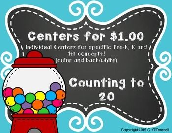 Here is a 36 page pdf that focus' on Counting from 1-20 using gumballs. This file includes several center and activity ideas, number/counting/number words cards. Gumball machines and gumballs to help with counting and more. Color and black/white versions included!You may also like: Centers for $1.00- sl, sk and sp wordsCenters for $1.00-bl, cl and flCenters for $1.00: Sl, Gl and Pl WordsCenters for $1.00: Br, Cr and Dr WordsCenters for $1.00-Fr, Gr and Pr WordsEnjoy!Christine