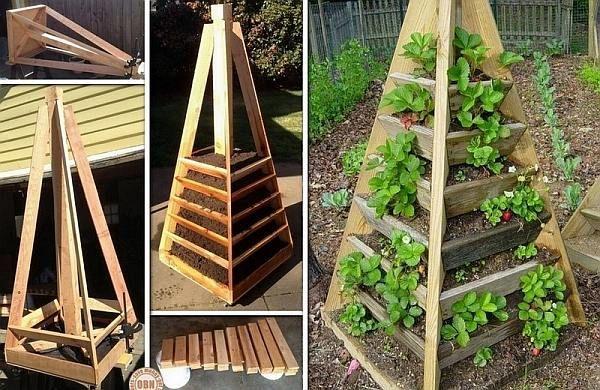 Houten aardbeientoren en plantenbakken om zelf te maken van een pallet. Gestapelde piramide bakken van steigerhout met drie en meer etages voor hangplanten.