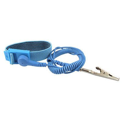 Electronic Alligator Clip Blue Coil Cable Antistatic Wrist Strap