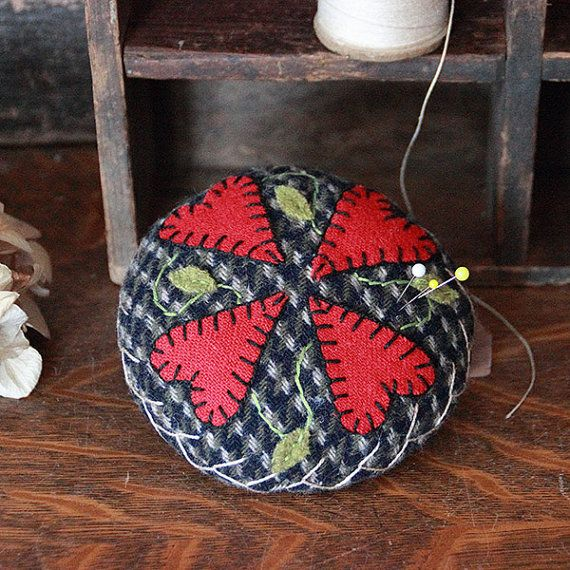 Primitive Folk Art Wool Appliqued Pincushion by rockriverstitches