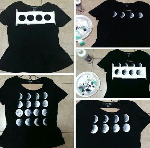 DIY - Phases of the moon T-shirt. making it you need a black shirt, scissors, white and black fabric paint, circle stencil (4 across) 16 circles total, and a paint sponge. super easy to do! Cut the shirt to your liking if needed, tape the stencil to the shirt, paint all 16 phases, remove stencil, touch up edges, let dry over night, wash it and wala!