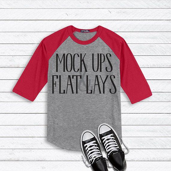 Download Free Raglan Red Grey 3 4 Sleeve T Shirt Flat Lay Mockup Psd Free Psd Mockups Shirt Mockup Clothing Mockup Mockup Free Psd