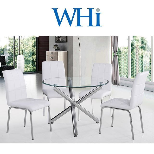 The Solara II by WHi is such a clean, versatile piece. It's easy to mix & match with any style of chair. Shown here with the Solara II sidechairs (also from WHi!) Enjoy!     http://worldwidehomefurnishingsinc.com/solara-ii-5pc-40-dining-set-in-white.html