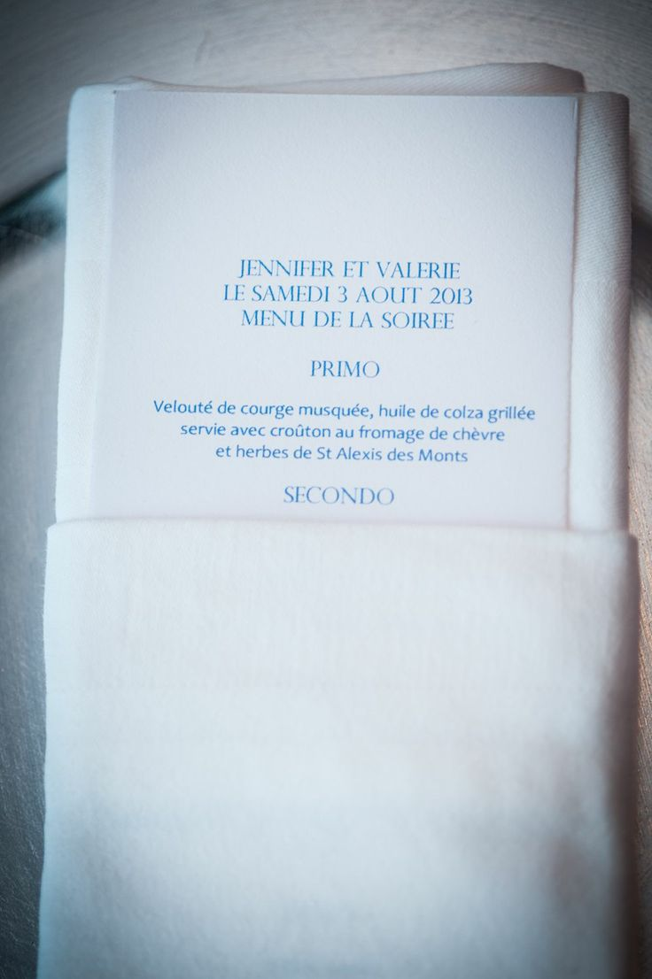 simple menu card tucked inside napkin