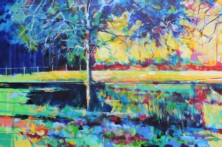 Field after the rain, acrylic on canvas, semi abstract landscape painting by Doug Eaton 91 x 61cm Ref: 014-034