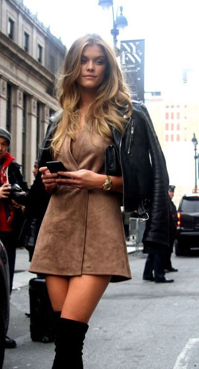 Loving suede now...summer halter and fringed vest plus this wrap dress. Leather + suede.