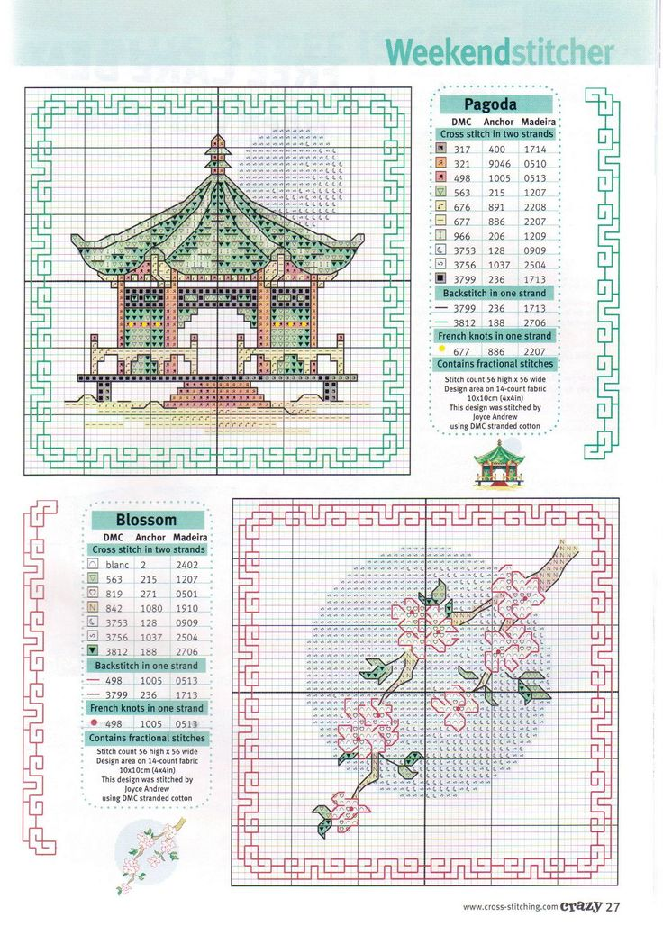 Borduurpatroon Allerlei & Vanalles Kruissteek *Cross Stitch Pattern  ~Pagode en Bloesem *Pagoda and blossoms~