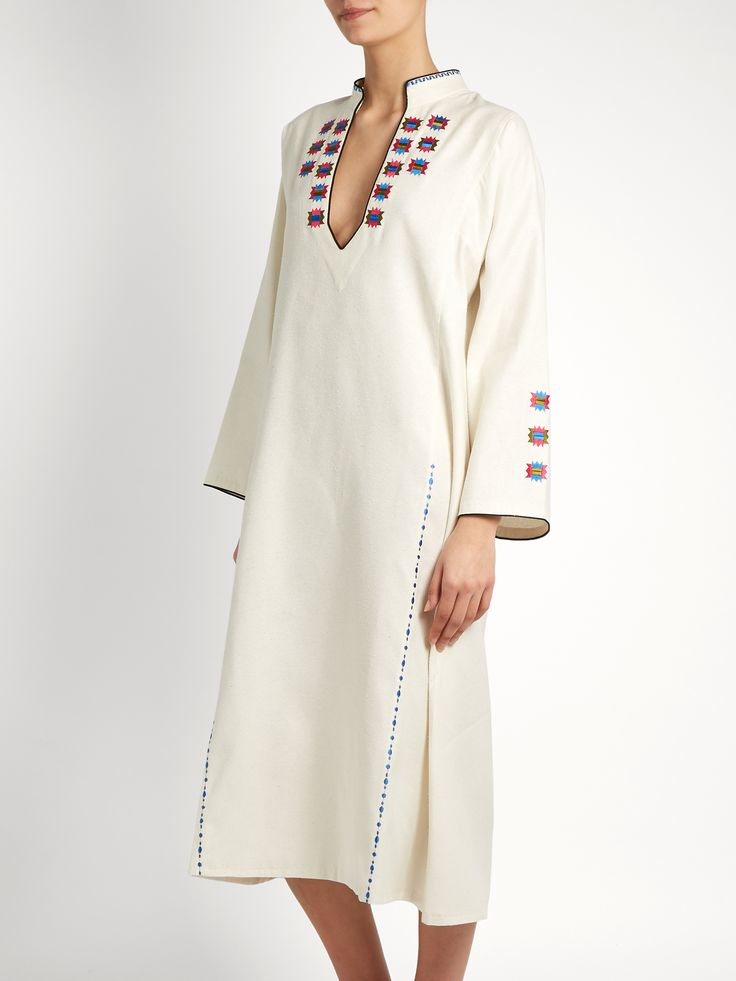 Click here to buy Zeus + Dione Tinos embroidered raw silk kaftan at MATCHESFASHION.COM