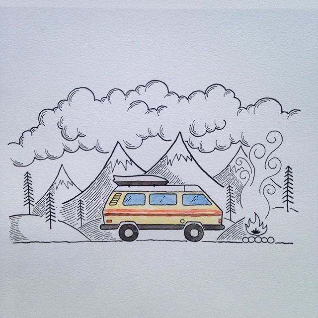 Went off of the theme of my last vanlife drawing and thought I'd try something…
