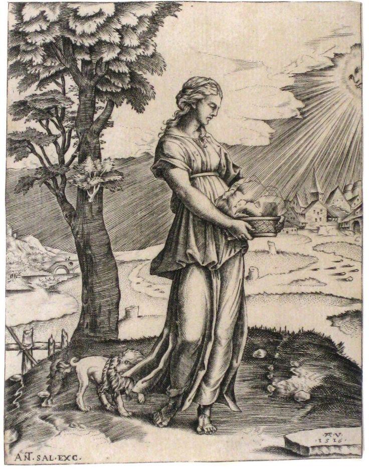 De sibylle van Cumae, Agostino Veneziano, 1516 | Museum Boijmans Van Beuningen
