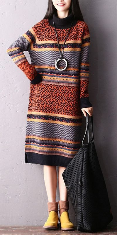 95bb49734ae Fashion Casual High Neck Loose Sweater Dresses For Women Q2219 w ...