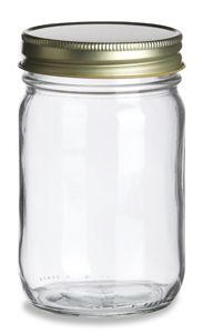 Eco Mason Glass Jar 12 oz w/ Gold Lid  Inexpensive place to buy Mason JArs