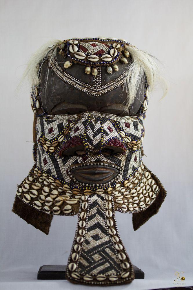 Tribal Used Kuba Bwoom Royal African Helmet - Mask Congo DRC