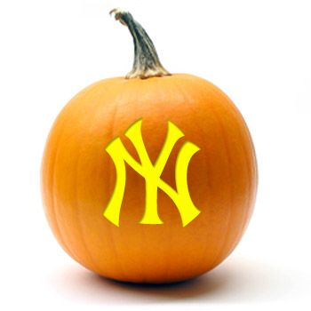 Yankees Pumpkin! Free Stencil! But be forewarned: In light of recent events, it just might end up smashed in the street.