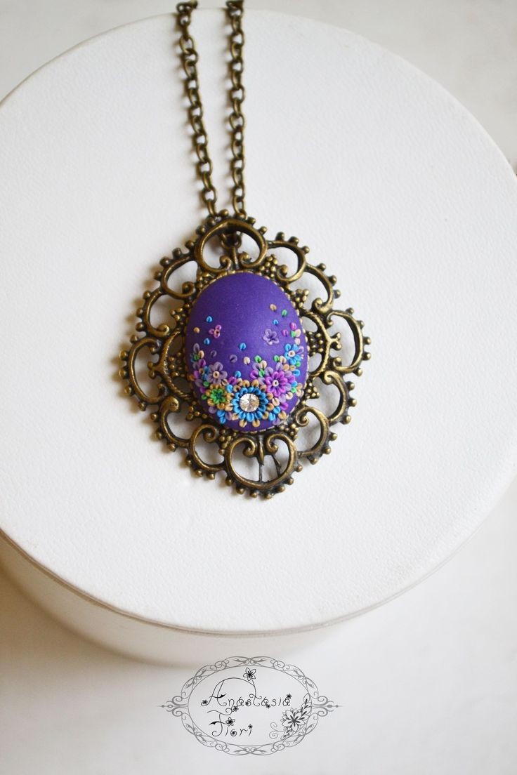 Polymer clay filigree applique technique, handmade jewelry, pendant earrings and ring, blue, violet, purple, pendant filigree
