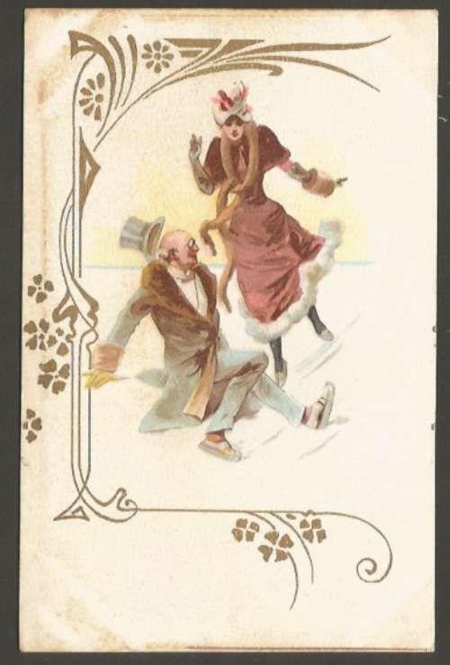 Art ? Noveau Litho Cromo Elegant Couple Ice Skating Postcard L@@K