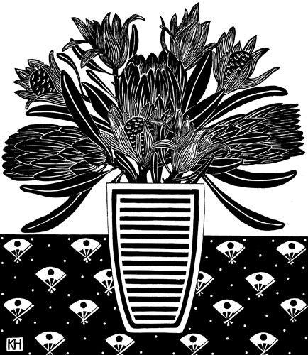 Kate Hudson Printmaker Proteas and Striped vase
