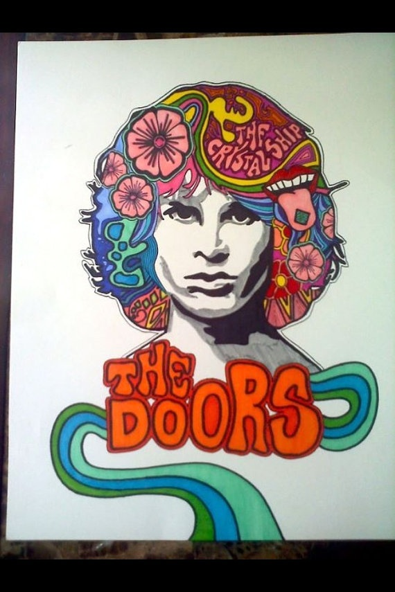 Jim Morrison Psychedelic Drawing by 666pickupstixArt on Etsy, $20.00