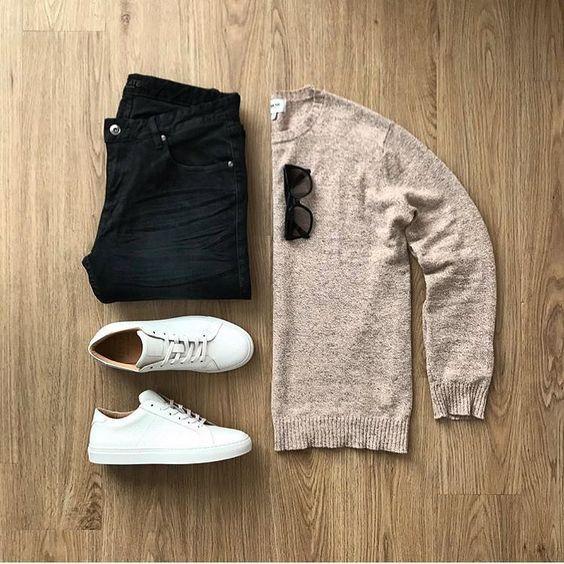 men's outfit grid - veja sneakers