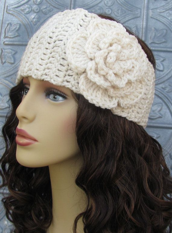 Grey crochet ear warmer with large flower head warmer - Diademas a crochet ...