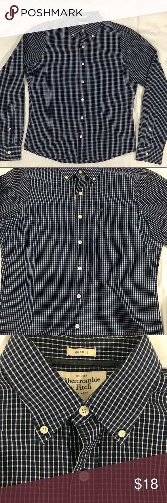 Abercrombie Men's Button Down Abercrombie & Fitch Men's Button Down. Muscle Fit. Blue and white plaid . Excellent condition Abercrombie & Fitch Shirts Casual Button Down Shirts