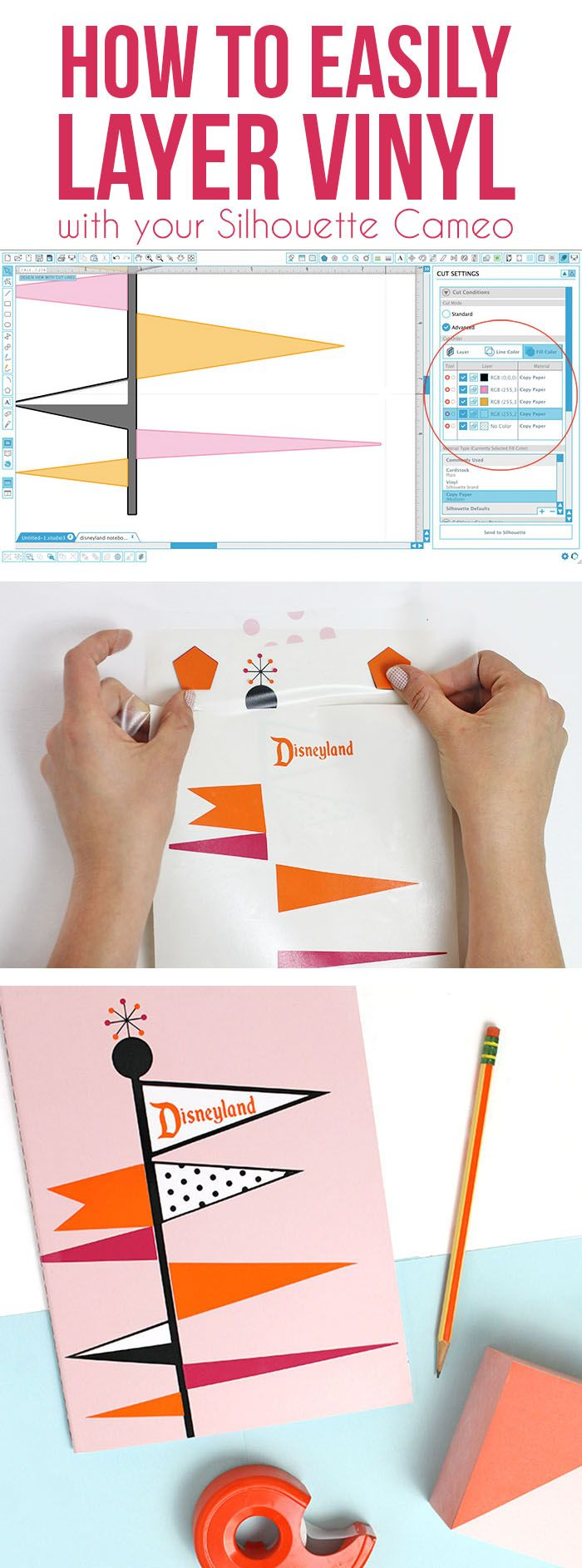 how to layer vinyl - learn the tricks for easily cutting and layering multi-color vinyl designs. Plus a free retro Disneyland-inspired decal design