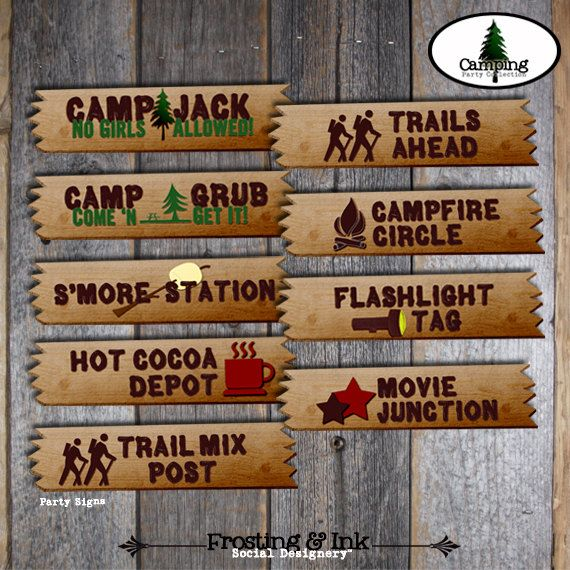 Camping Party - Campout Birthday Party - Party Activity Signs - Customized Printable (Camp, Campout, Camp Out, Outdoor, Lumberjack)