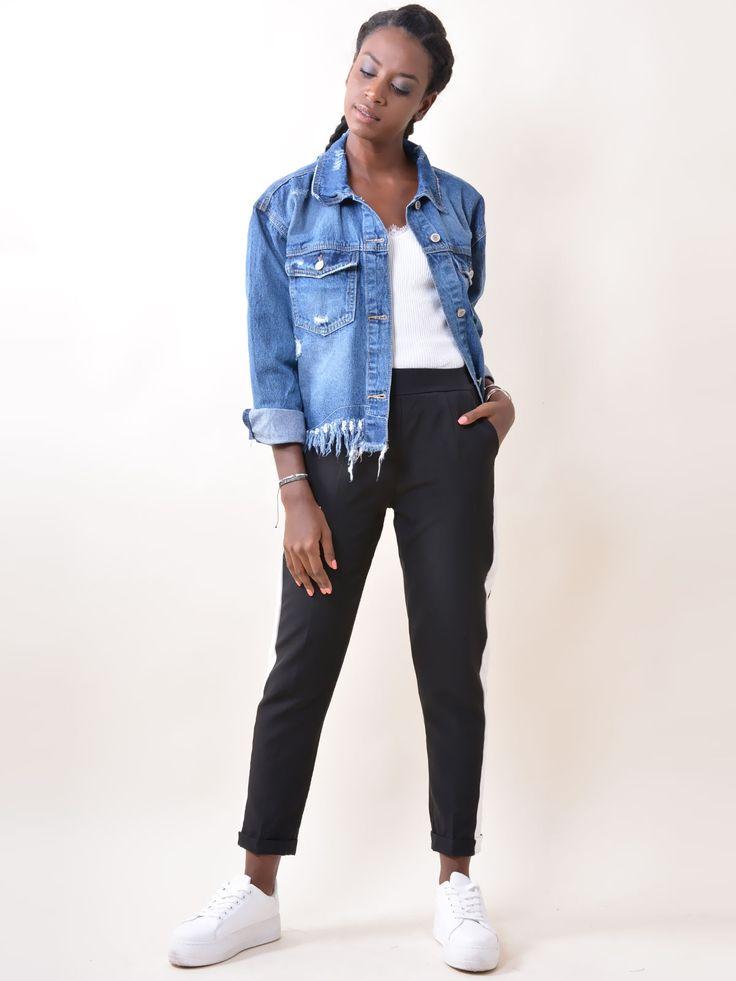 PA2954 Παντελόνι Ψηλόμεσο με Τσέπες & Ρίγες στα Πλαϊνά - Decoro - Γυναικεία ρούχα, ανδρικά ρούχα, παπούτσια
