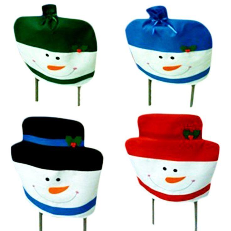 4pcs Snowman Toilet Seat Cover And Rug Bathroom Set Christmas Decoration