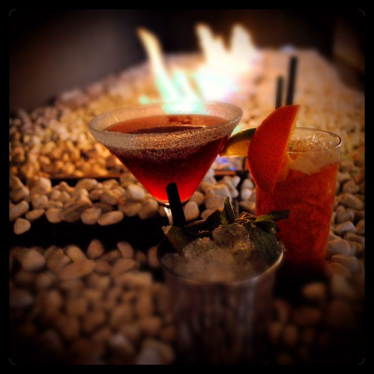 There is nothing like a warming drink in front of our fireplace. Cheers!
