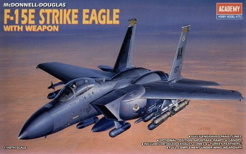McDonnell Douglas F-15E Strike Eagle with Weapon. Academy, 1/48, injection, No.12264. Price: 19,80 GBP.