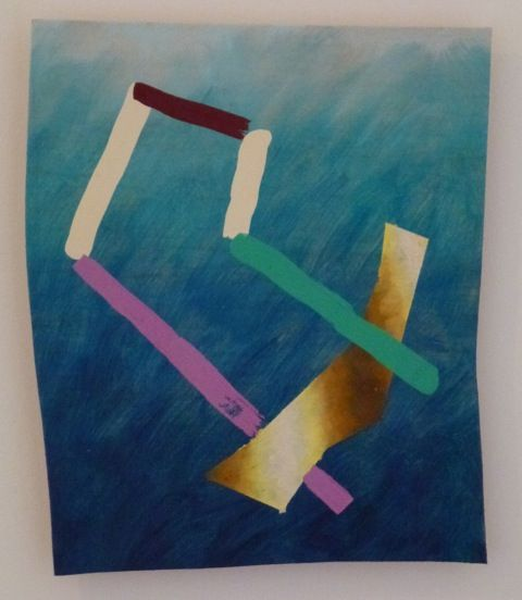 Peter Gouge, I.T.M. (blue), 2014, oil, oil stick and encaustic on plywood, 340 x 280 mm