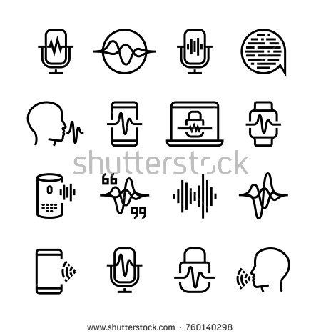 Stock Vector: Voice and speech recognition, cellular network vector icons. Mic command and hearing symbols. Illustration of voice recognition, innovation command -