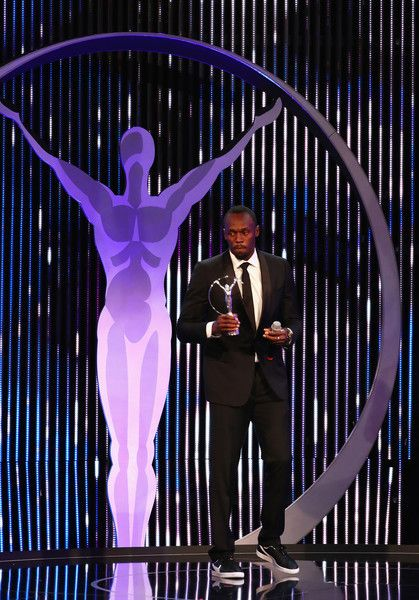 Usain Bolt Photos Photos - Athlete Usain Bolt of Jamaica accepts his Laureus World Sportsman of the Year award on stage during the 2017 Laureus World Sports Awards at the Salle des Etoiles,Sporting Monte Carlo on February 14, 2017 in Monaco, Monaco. - Show - 2017 Laureus World Sports Awards - Monaco