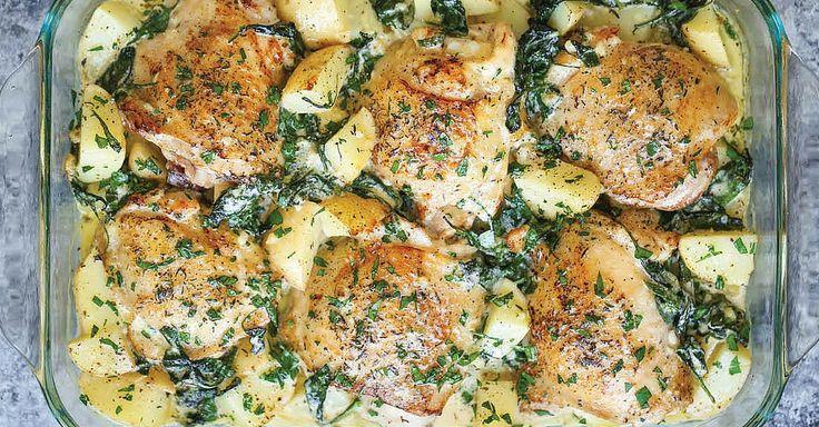 Zapékaná kuřecí stehýnka s bramborami, špenátem a sýrovou omáčkou