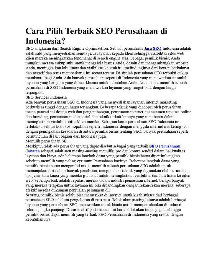Top pemasaran mesin pencari Layanan SEO Indonesia di Indonesia. Dapatkan peringkat mesin pencari teratas di hasil pencarian Google. Terbaik optimasi perusahaan mesin pencari di Jakarta