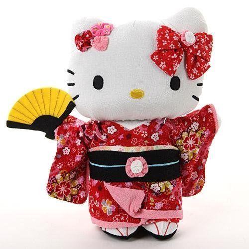 "Sanrio Hello Kitty crepe chirimen Japanese Kimono 10.6"" plush doll Red F/S Gift"