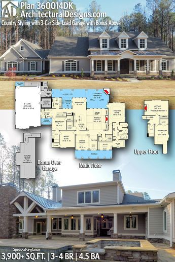 plan 360014dk country styling with future bonus space in 2019 rh pinterest com