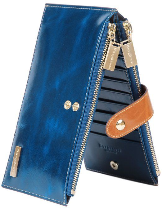 Borgasets Women's Genuine Leather Zipper Wallet Card Case Purse Blue