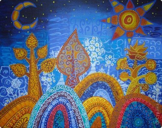 Картина панно рисунок Мастер-класс Урок рисования Рисование и живопись Роспись Волшебный лес Краска фото 1